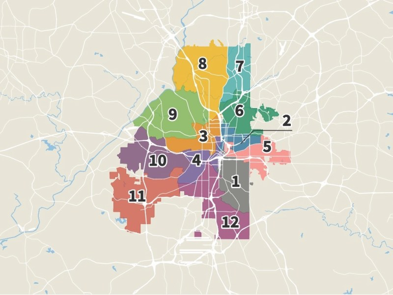 Static map of Atlanta showing City Council districts. District 7 is in far northeast Atlanta. District 6 borders it on the south and reaches to Midtown. District 2 is south of that. District 5 is south of that and reaches south of I-20. District 1 is the next south, then District 12 is in far southeast Atlanta. District 4 is south and west of Downtown. District 3 is north and west of Downtown. District 8 is in far northwest Atlanta. It's bordered on the south by District 9, then below that District 10 and in far southwest Atlanta is District 11.