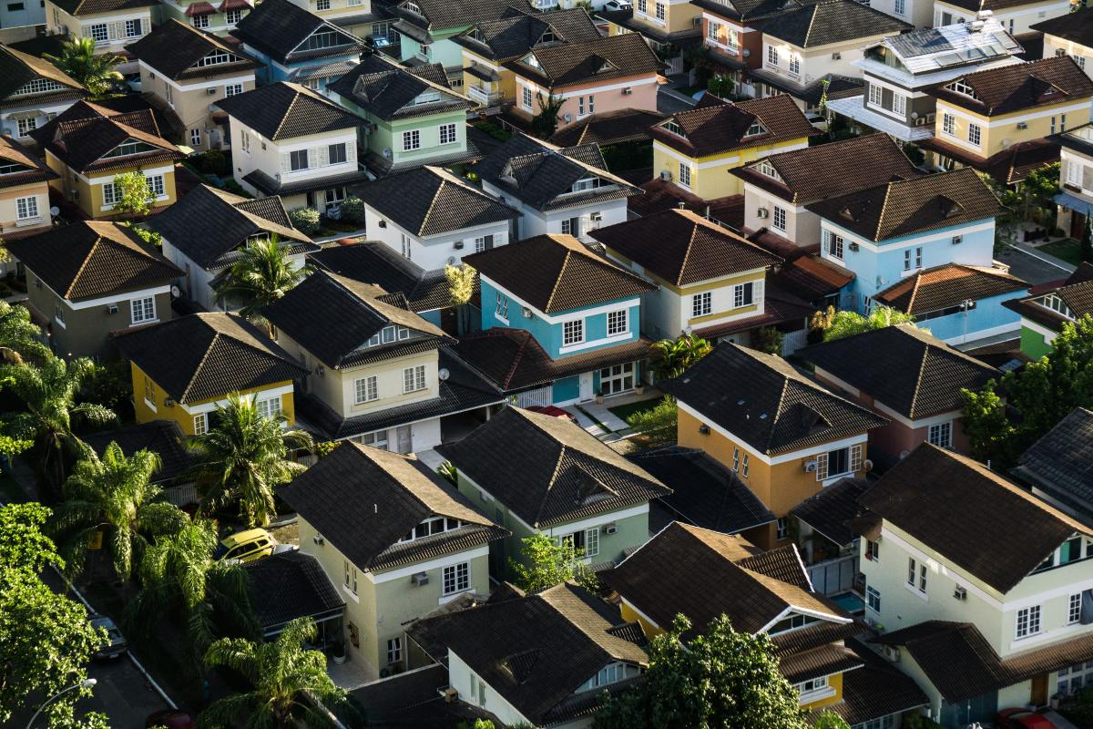 Colorful uniform houses seen from above